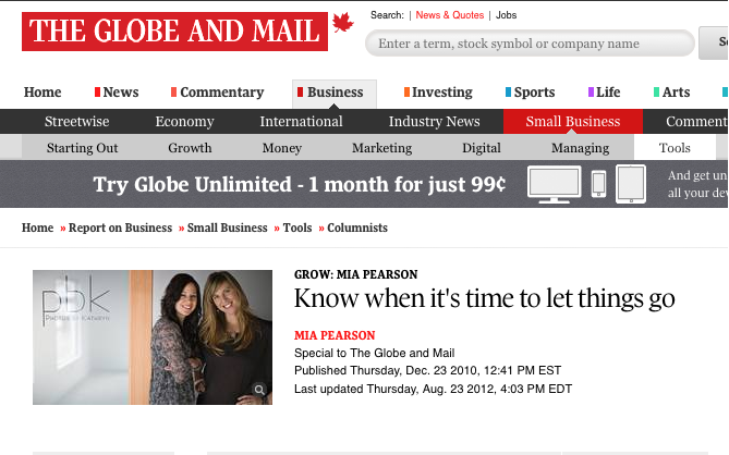 Creating Excellence talks small business in Globe and Mail